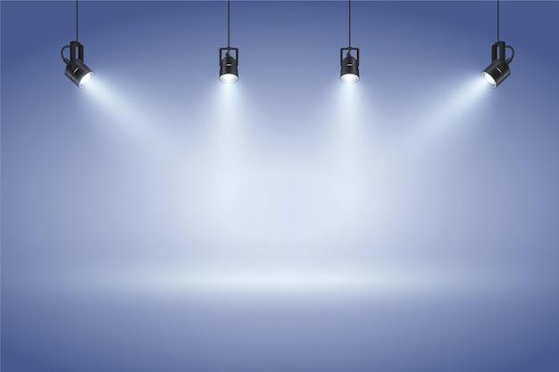Parede azul com fundo de luzes do ponto Vetor grátis