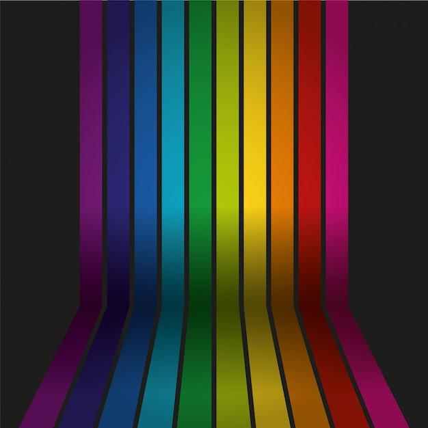 Parede colorida de arco-íris de vetor com piso Vetor Premium
