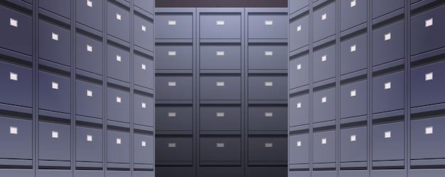 Parede de escritório de arquivo de documentos de arquivo de documentos pastas de armazenamento para arquivos conceito de administração de negócios ilustração vetorial horizontal Vetor Premium