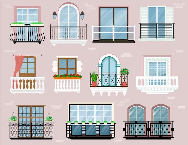 Parede de fachada varanda janelas vintage trilhos varanda vintage Vetor Premium