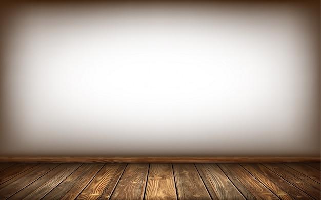 Parede de madeira e piso com superfície envelhecida, realista Vetor grátis