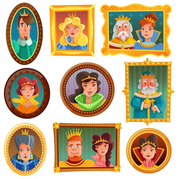 Parede de retrato de princesas e rainhas Vetor grátis