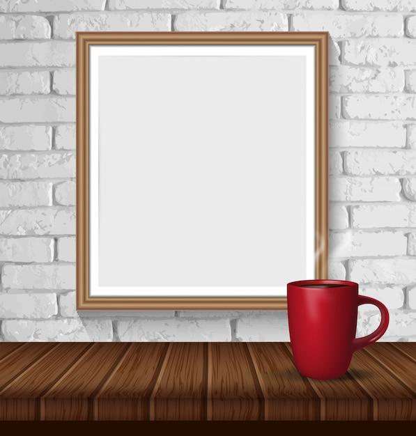 Parede de tijolo branca com quadro e a xícara de café vazios de madeira. Vetor Premium
