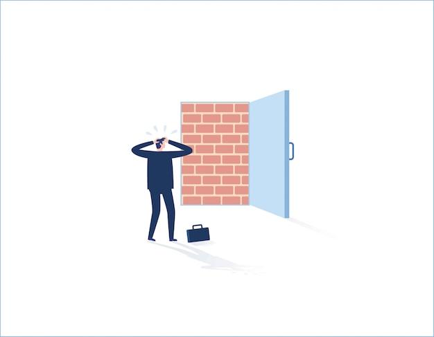 Parede de tijolo que obstrui a entrada do escritório, homem de negócios que está desânimo. adversidade, obstáculo preso, sem saída. Vetor Premium