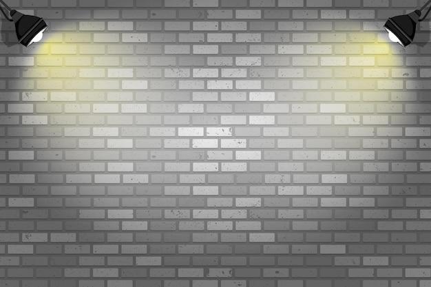 Parede de tijolos com fundo de luzes do ponto Vetor grátis