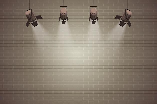 Parede de tijolos com fundo de luzes do ponto Vetor Premium