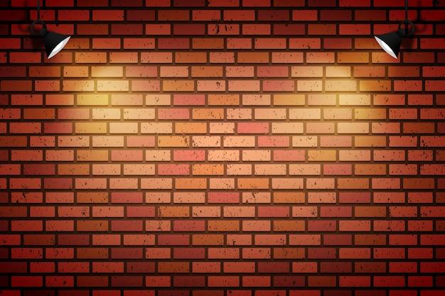 Parede de tijolos com luzes do ponto Vetor Premium