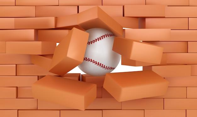 Parede de tijolos destruindo com bola de beisebol, esportes Vetor grátis