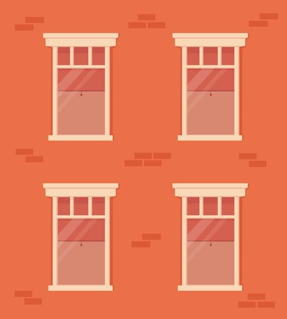 Parede de tijolos e janelas com moldura branca. fachada de edifício residencial. casa com janelas com cortinas e persiana interna Vetor Premium