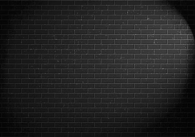 Parede de tijolos, tijolos cinza e sombra de luz da lâmpada. ilustração Vetor Premium