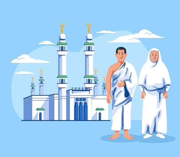 Pares de peregrino muçulmano que estão na frente de masjid al haram. Vetor Premium