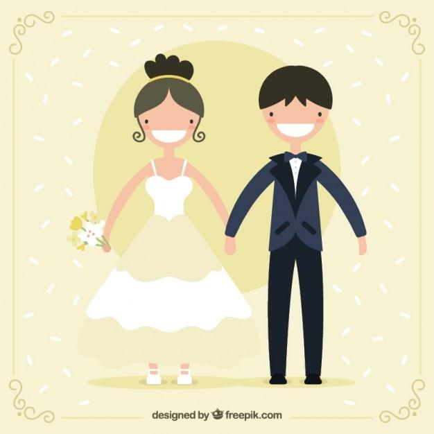Pares de sorriso do casamento Vetor grátis