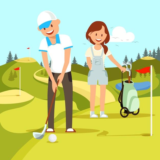 Pares felizes novos de homem e mulher que jogam o golfe. Vetor Premium