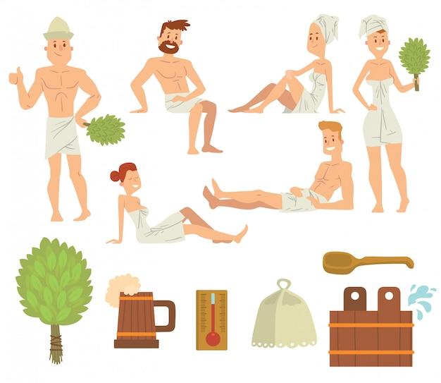 Pares novos que relaxam no vetor da escovada dos povos do banho do conceito dos cuidados médicos dos termas. Vetor Premium