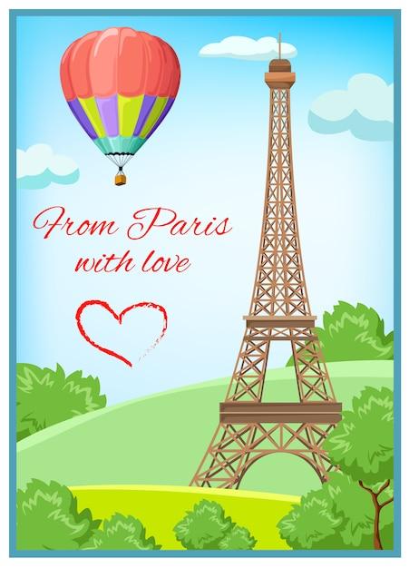 Paris cartão postal Vetor grátis