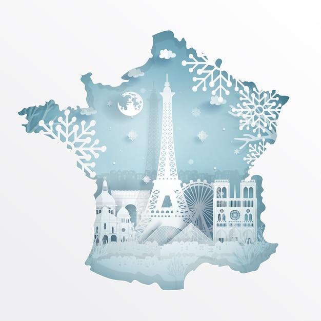 Paris, frança mapa temporada de inverno Vetor Premium