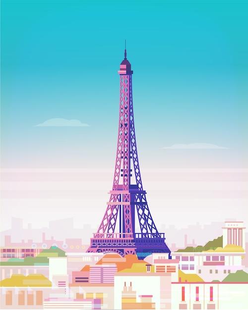 Paris. paisagem da cidade com a torre eiffel. Vetor Premium