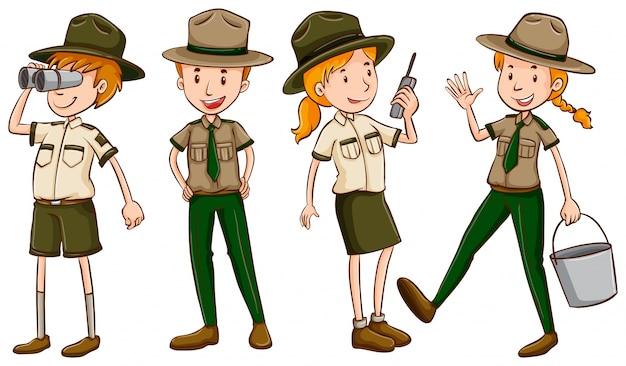 Park rangers em uniforme marrom Vetor grátis
