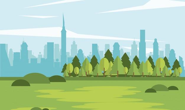 Parkscape com cidade de forma Vetor Premium