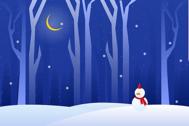 Paronama noite de inverno com neve homem paisagem Vetor Premium