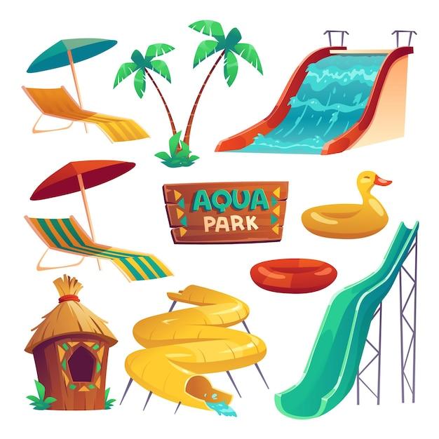 Parque aquático com toboáguas, anéis infláveis, guarda-sóis e espreguiçadeira Vetor grátis