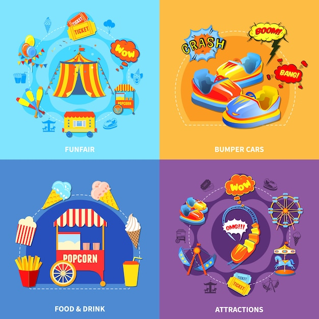 Parque de diversões 4 ícones quadrados plana Vetor grátis