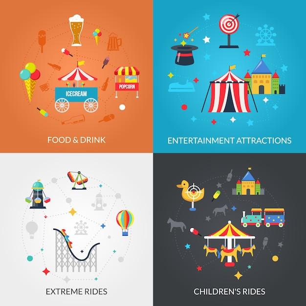 Parque de diversões 4 ícones quadrados Vetor grátis