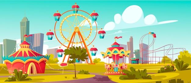 Parque de diversões, carnaval ou festa justa festiva Vetor grátis