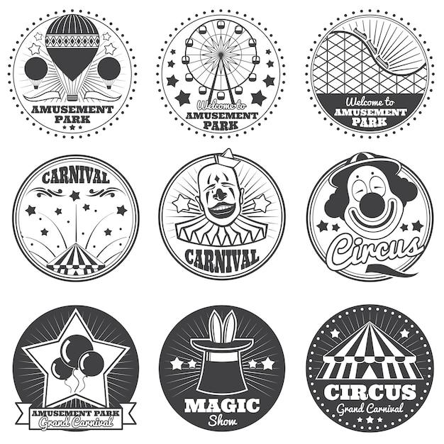 Parque de diversões, circo e carnaval vector vintage emblemas e etiquetas Vetor Premium