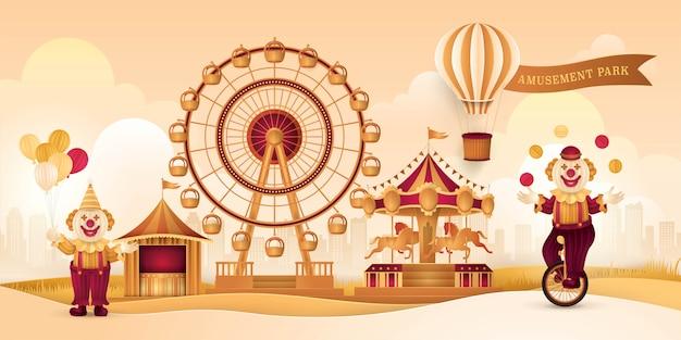 Parque de diversões com roda gigante, tendas de circo, carnival fun fair Vetor Premium