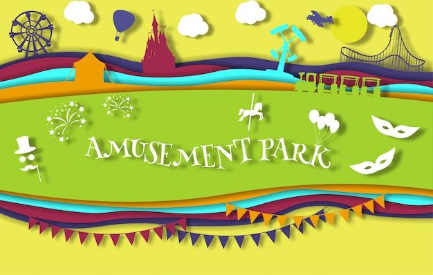 Parque de diversões de arte papel estilo com carrossel com passeios Vetor Premium