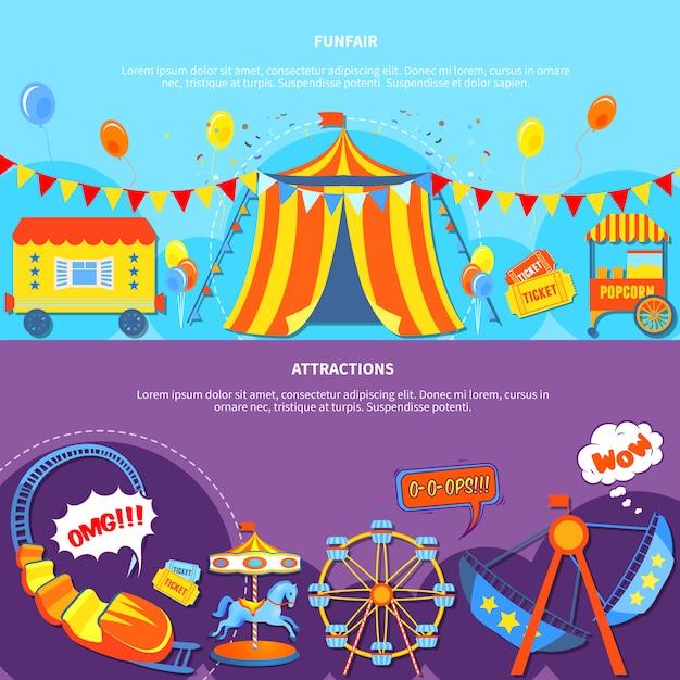 Parque de diversões e atrações 2 banners planas Vetor grátis