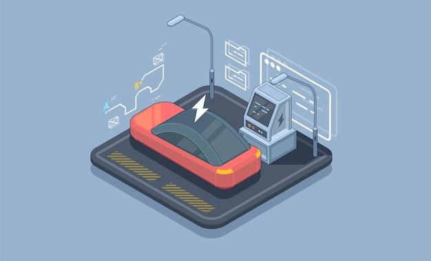 Parque de estacionamento elétrico isométrico. modelo de banner da web de vetor de estação de carregamento. Vetor Premium