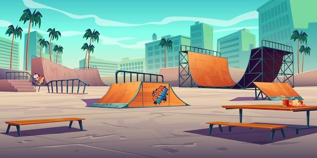 Parque de skate com rampas em cidade tropical Vetor grátis