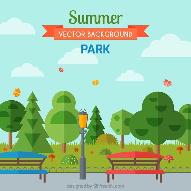 banco de jardim vetor:Parque do verão