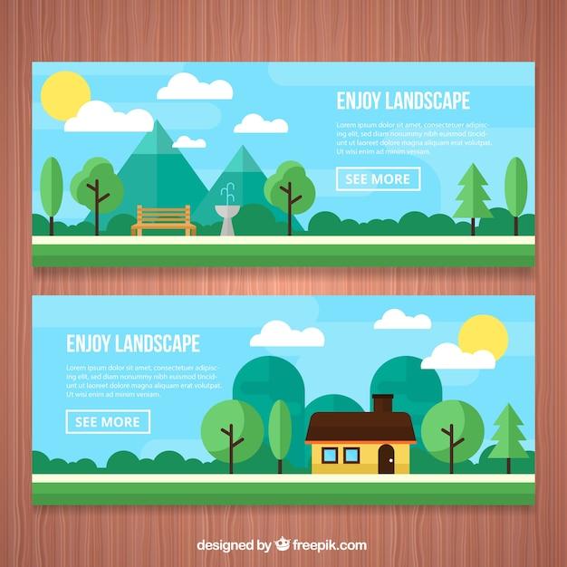Parque e casas banners em uma paisagem em design plano Vetor grátis