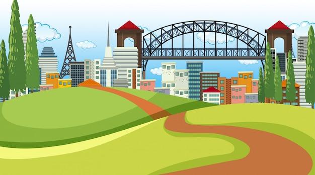 Parque em cena da cidade ou plano de fundo Vetor grátis