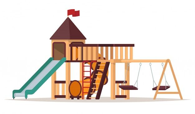 Parque infantil com baloiços e slides sobre fundo branco. ilustração de um Vetor Premium