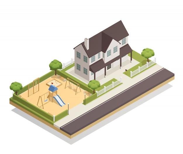 Parque infantil perto de composição isométrica de casa residencial Vetor grátis
