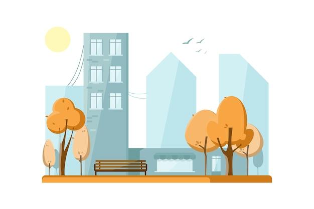 Parque público outonal na cidade. árvores de outono. Vetor grátis