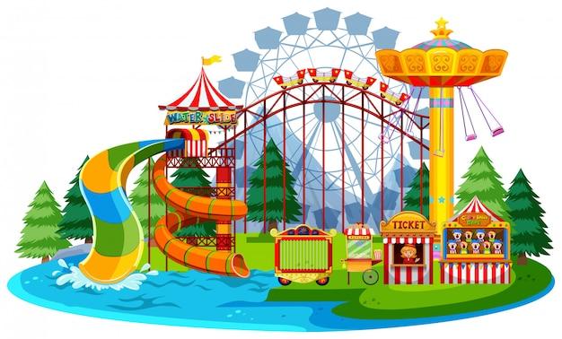 Parque temático da água do divertimento Vetor Premium