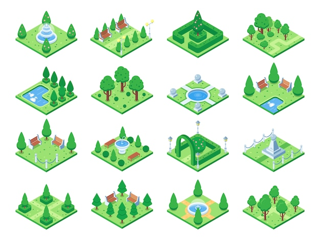 Parque verde isométrica ou árvores de jardim. Vetor Premium