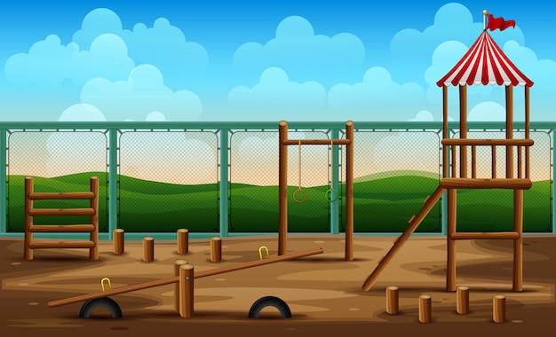 Parques infantis de jardim de infância para atividades infantis Vetor Premium