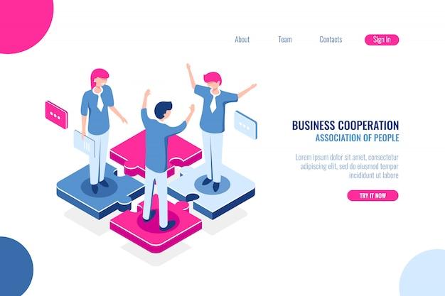 Parte da equipe, conceito de quebra-cabeça de negócios, tomada de decisão conjunta, marketing de trabalho em equipe Vetor grátis