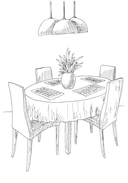 Parte da sala de jantar. mesa redonda e cadeiras. no vaso de flores da mesa. esboço desenhado de mão. ilustração em vetor. Vetor Premium
