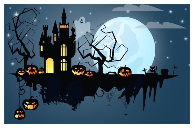 Parte do solo com ilustração de personagens de halloween Vetor Premium