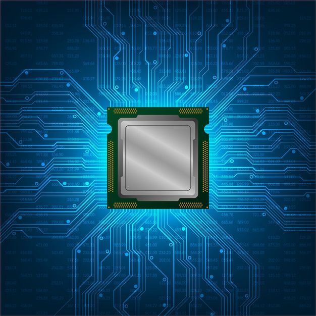 Parte essencial da cpu do computador. Vetor Premium