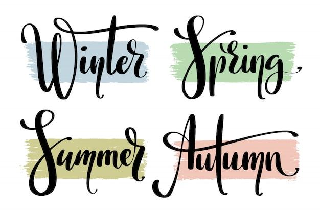Partes do ano. nomes das estações à mão. Vetor Premium