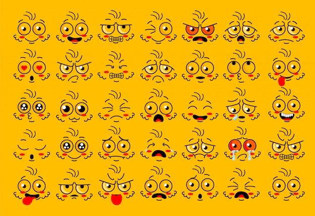 Partes do olho de cara engraçada com emoção de expressões Vetor Premium