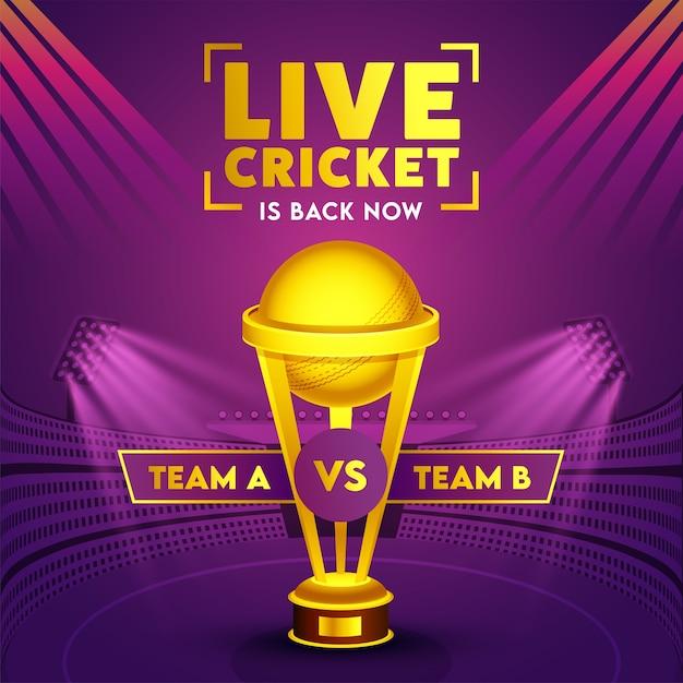 Participantes da equipe a e b com a golden trophy cup no purple stadium view para o críquete ao vivo está de volta agora. Vetor Premium
